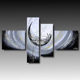 ANEMONE - 4 Quadri moderni astratti toni del bianco nero grigio beig marrone