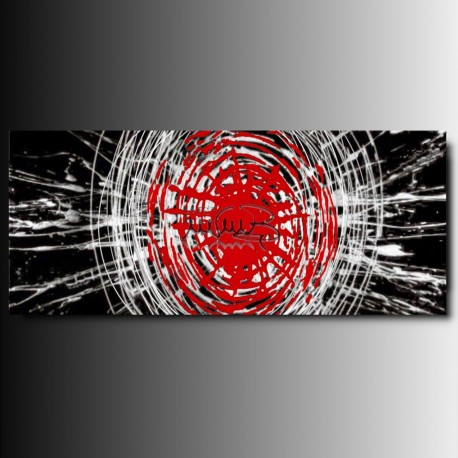 BIG BANG ONE (BIANCO) - 1 quadro astratto toni del bianco nero e rosso