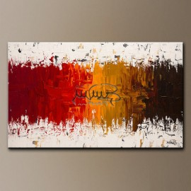HALLEY - 1 Quadri moderni astratti toni del rosso, ocra, marrone nero