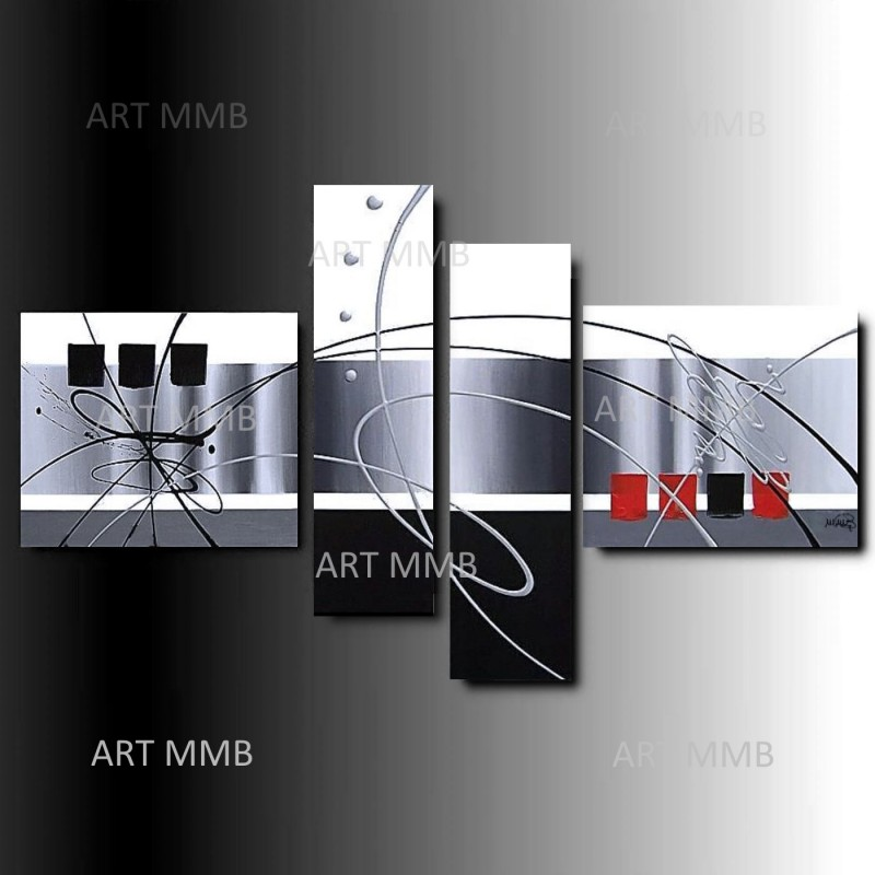 4 quadri moderni astratti feeling art mmb di for Tele quadri
