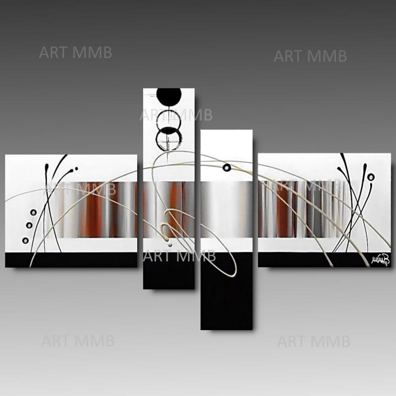 Quadri E Tele Moderne.Lunatic White 4 Quadri Astratti Toni Del Bianco E Rosso