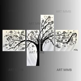 ALBERO 1- 4 Quadri Astratti Moderni Toni del bianco Nero