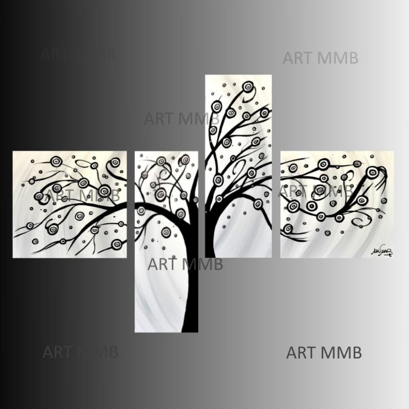 """4 quadri moderni astratti """"albero-1 bianco e nero"""" - art mmb di"""