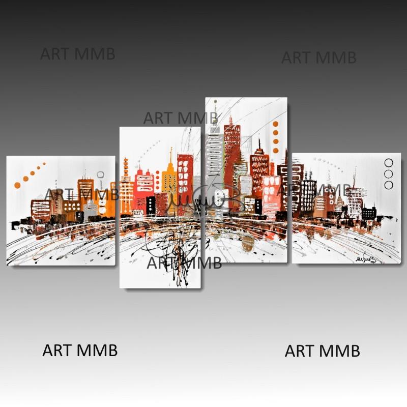 4 quadri moderni astratti dipinti a mano