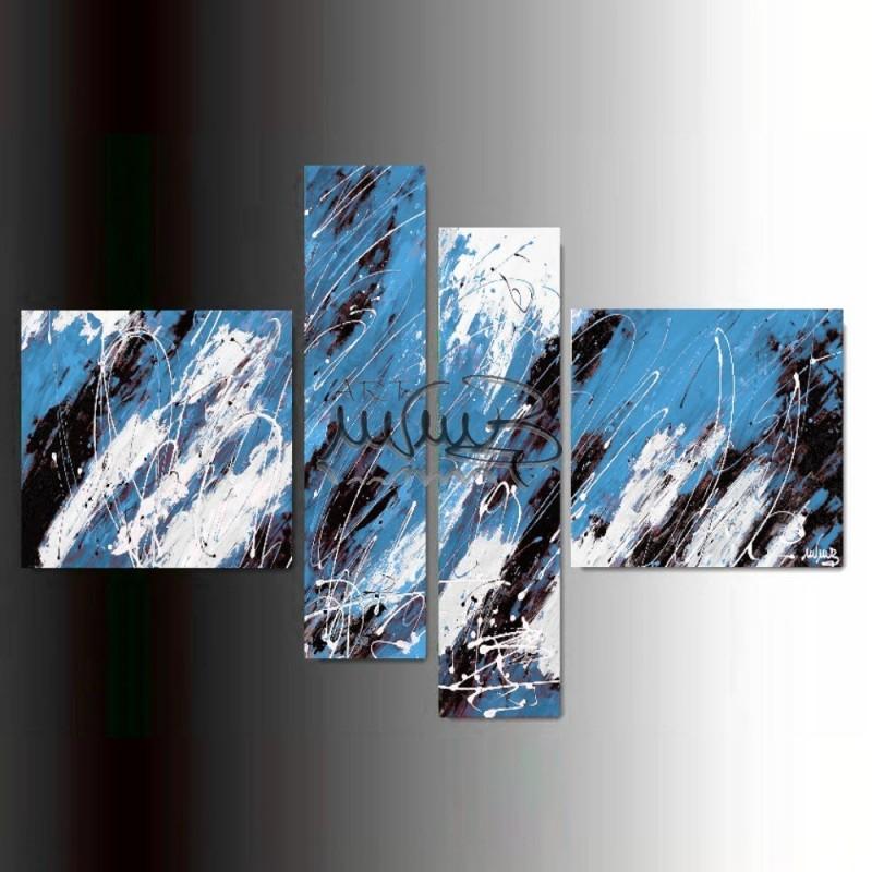 Quadri Tele Moderne.4 Quadri Moderni Astratti Sirius Blu