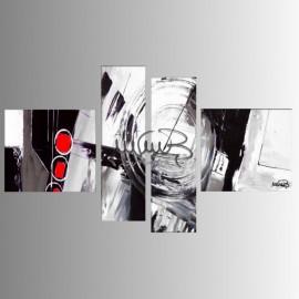 """4 Quadri moderni astratti """"AROUND - Bianco e Nero"""""""