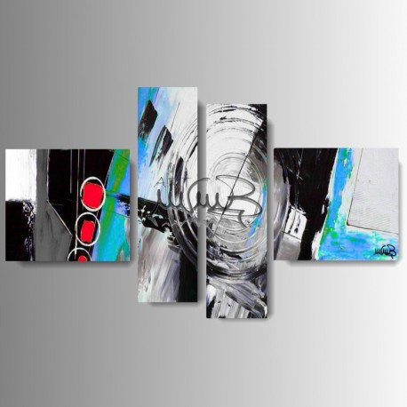 "4 Quadri moderni astratti ""AROUND - Blu """