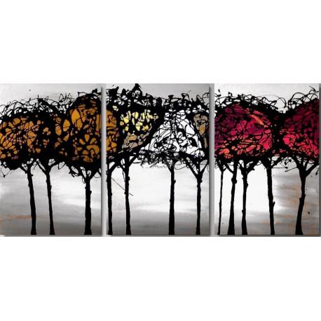 """3 Quadri Moderni Astratti """"FOREST WHITE"""""""