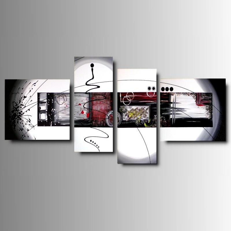 POKER - 4 Quadri Moderni Toni del Bianco Nero Rosso e Grigio