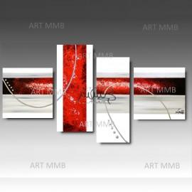 "4 Quadri Moderni Astratti ""LUNATIC (WHITE)"""
